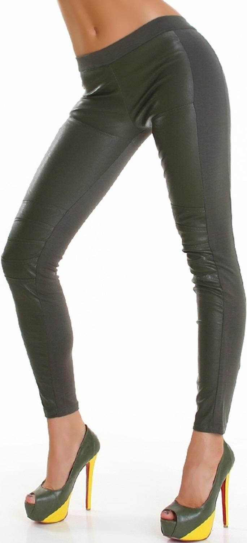 47159a7ece7c91 Damen Wetlook Leggings Lederimitat 7/8 Capri Treggings Stretch 32 34 36 XS  S M | eBay