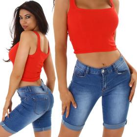 Jela London Damen Denim Jeans-Shorts Stretch Skinny Washed