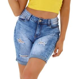 Jela London Damen High-Waist Jeans-Shorts Destroyed...