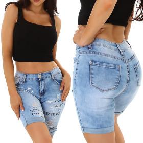 Jela London Damen Jeans-Shorts Stretch Spruch Motiv...