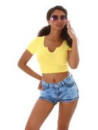 Jela London Damen High-Waist Hotpants Stretch-Jeans Skinny Bleached