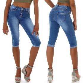 Jela London Damen Denim Jeans-Shorts Bermudajeans Stretch...