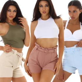 Jela London Damen High-Waist Sommer-Shorts Paperbag...