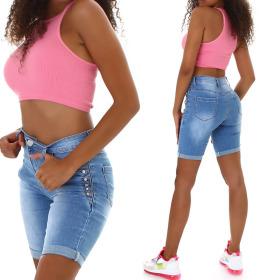 Jela London Damen High-Waist Jeansshorts Strass Bermuda...