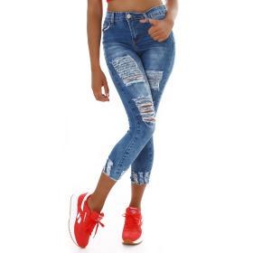 Jela London Damen High-Waist Capri-Jeans Destroyed Risse...