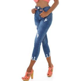 Jela London Damen High-Waist Capri-Jeans Skinny Stretch...