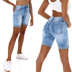 Jela London Damen High-Waist Jeansshorts Skinny Destroyed