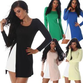Jela London Damen Sommer-Kleid Stretch A-Linie Cut-Out Bein
