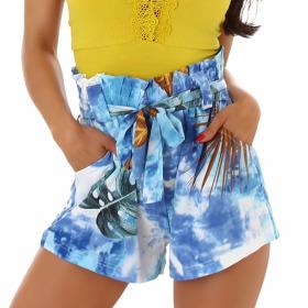 Jela London Damen High-Waist Paperbag Shorts Sommerhose kurz