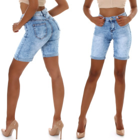 Jela London Damen High-Waist Jeansshorts Bermuda-Jeans...