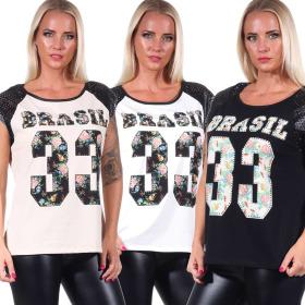 Jela London Damen Oversize T-Shirt Kunstleder Mesh...