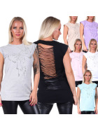 Jela London Damen Oversize Top Glitzer-Schleife Strass Offener Rücken Destroyed