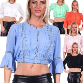 Jela London Damen Bauchfreies Shirt Langarm Blusen-Optik...