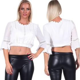 Jela London Damen Bauchfreies Shirt Langarm Blusen-Optik Dirndl