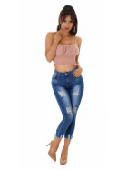 Jela London Damen High-Waist Capri-Jeans Skinny Stretch Destroyed