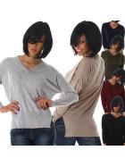 Jela London Damen Sweatshirt Pullover Hüftschlitz Vokuhila Oversize