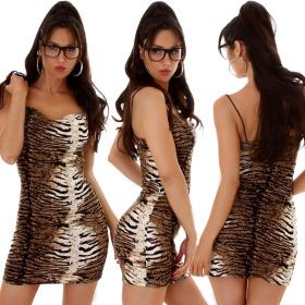 Voyelles Damen Minikleid Stretch Leopard Tiger...