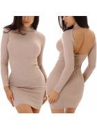 Enzoria Damen Strickkleid Stretch Feinripp Streifen Rückenfrei Etui Minikleid