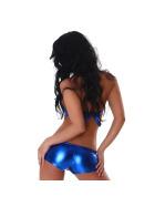 Jela London Wetlook GoGo Neckholder-Top Glanz bauchfrei metallic, Blau