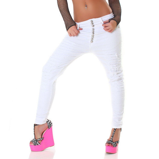 Acce Star Damen Weiße Jeans Harem Ripped Skinny (30-40)