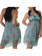 Graffith Chiffon Kleid Sommerkleid knielang Plissee Träger, Grün