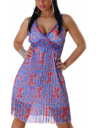 Graffith Chiffon Kleid Sommerkleid knielang Plissee Träger, Blau