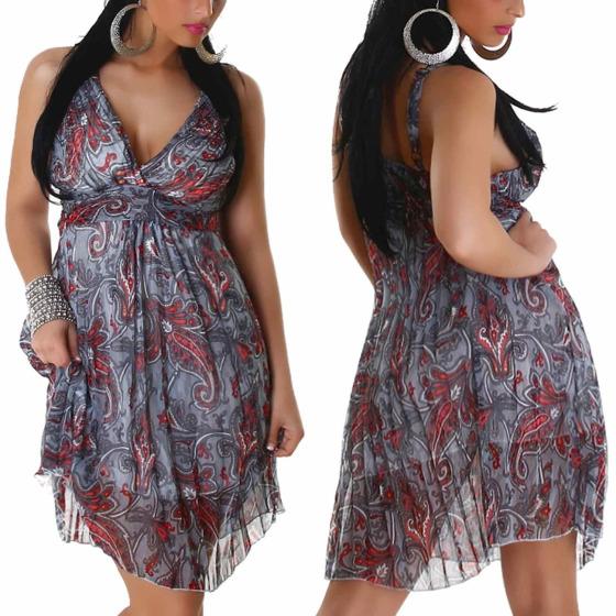 Graffith Chiffon Kleid Sommerkleid knielang Plissee Träger, Grau