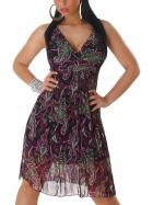 Graffith Chiffon Kleid Sommerkleid knielang Plissee Träger, Lila Violett