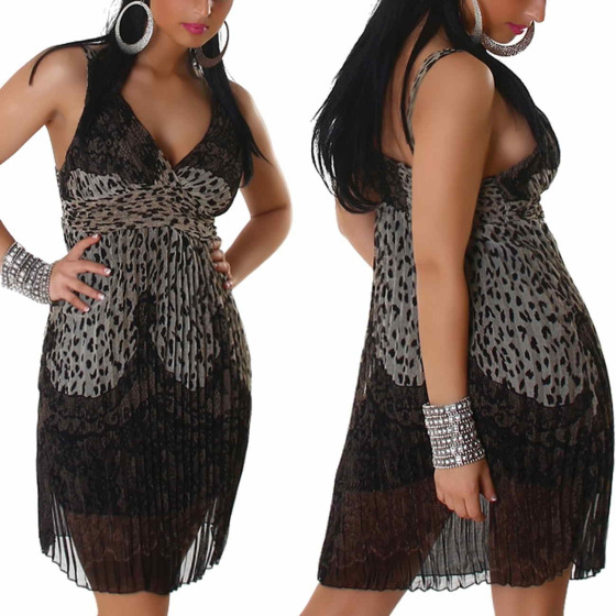 Graffith Chiffon Kleid Sommerkleid knielang Plissee Träger, Beige