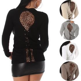 Jela London Pullover Longsleeve Leoparden-Look Netz...