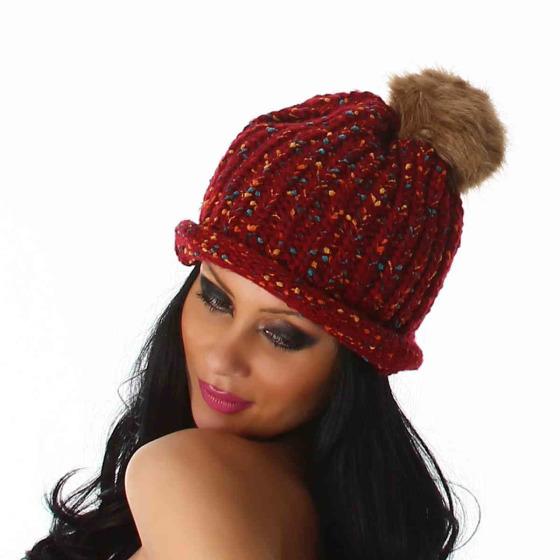 Jela London Damen Strickmütze Farbtupfer Kunstfell-Bommel, Rot