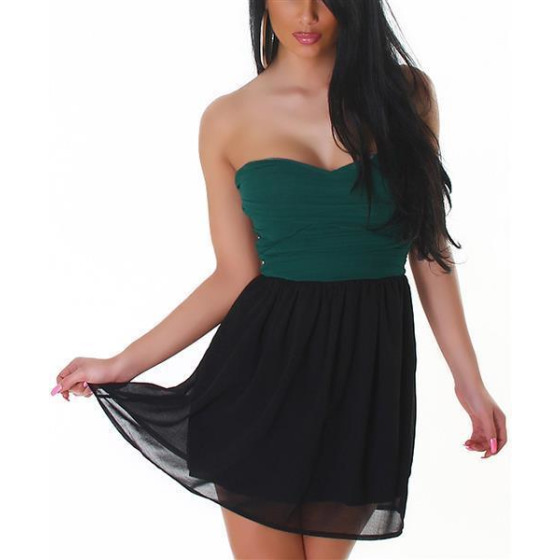 Bandeau Push-Up Kleid Chiffon, Green M