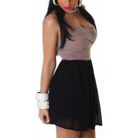 Bandeau Push-Up Kleid Chiffon, Light Brown XL