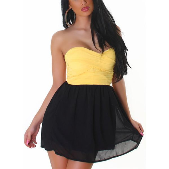 Bandeau Push-Up Kleid Chiffon, Yellow S