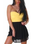 Bandeau Push-Up Kleid Chiffon, Yellow S