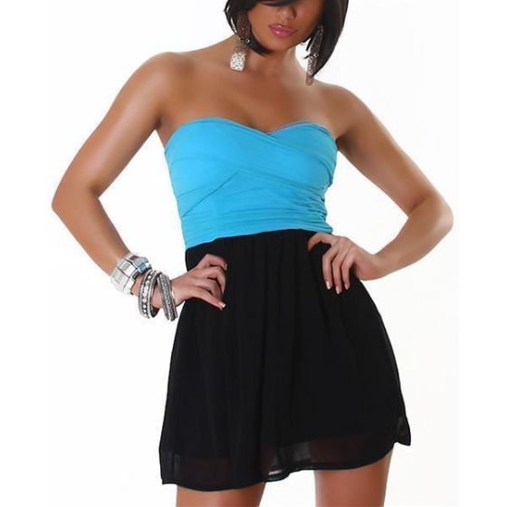 Bandeau Push-Up Kleid Chiffon, Turquoise XL