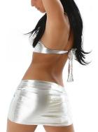 Jela London Damen Minirock Wetlook Micro Glanz metallic GoGo, Silber 36 (S)