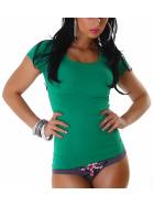 Jela London Damen Longshirt T-Shirt Rundhals Kurzarm Grün 30 XS