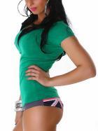 Jela London Damen Longshirt T-Shirt Rundhals Kurzarm Grün 34-36 (L)
