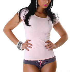 Jela London Damen Longshirt T-Shirt Rundhals Kurzarm Rosa 30 XS
