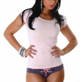 Jela London Damen Longshirt T-Shirt Rundhals Kurzarm Rosa 32 S