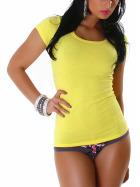 Jela London Damen Longshirt T-Shirt Rundhals Kurzarm Gelb 30 XS