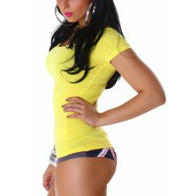 Jela London Damen Longshirt T-Shirt Rundhals Kurzarm Gelb 32 S