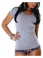 Jela London Damen Longshirt T-Shirt Rundhals Kurzarm Grau 30 XS