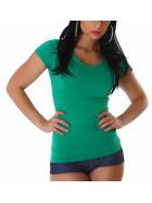 Jela London Damen Longshirt T-Shirt V-Ausschnitt Kurzarm Grün 32 S