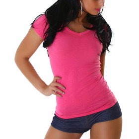 Jela London Damen Longshirt T-Shirt V-Ausschnitt Kurzarm Pink 30 XS