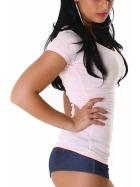 Jela London Damen Longshirt T-Shirt V-Ausschnitt Kurzarm Rosa 32 S