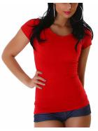 Jela London Damen Longshirt T-Shirt V-Ausschnitt Kurzarm Rot 30 XS
