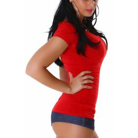 Jela London Damen Longshirt T-Shirt V-Ausschnitt Kurzarm Rot 32 S