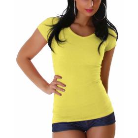 Jela London Damen Longshirt T-Shirt V-Ausschnitt Kurzarm Gelb 30 XS